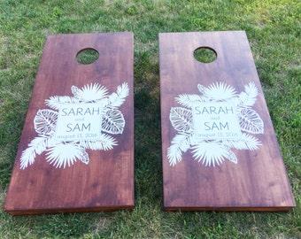 Custom Wedding Cornhole Boards - Custom Tropical Wedding Logo