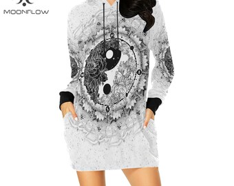 Goa Clothing Psy Trance Dress Trippy Festival Clothing Rave Outfit YIN YANG Mini Dress Psytrance Futuristic Clothing Psychedelic Clothing