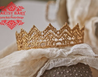 Princess or Prince various size crown Gold Prop Baby adult teen Crown for photo shoots theatre, proms, prop in Gold sparkle choose your size