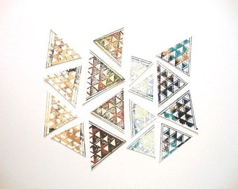 Triangle Stickers : Set hand printed geometric triangle stickers