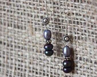 Lavender Purple Iridescent Pearl Drop Earrings, Sterling Silver, Simple, Dainty