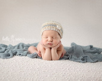 Striped Beanie Newborn Photo Prop Baby Shower Gift Hat Knitted Cap Going Home Neutral Colors Button Hand Knit Organic Knits Coming Outfit