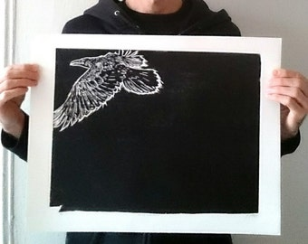 As The Crow Flies - Woodcut Print