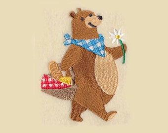 Picnic Bear Tea Towel | Embroidered Kitchen Towel | Embroidered Towel | Personalized Kitchen Towel | Embroidered Tea Towel | Yogi Bearlike