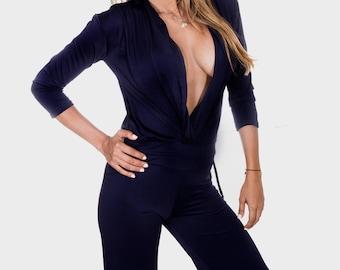 Black Jumpsuit - Black Long Sleeve Wide Leg Jumpsuit - Black jumpsuit Wrap top - Jumpsuit