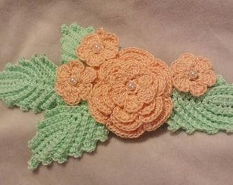 Crocheted Irish rose flowers and leaves hair clip