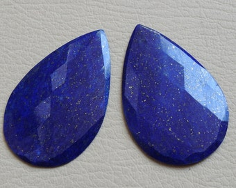 LAPIS LAZULI One Matched Pair Faceted Pear Shape Cabochons Good Quality 100% Natural Wholesale Price New Arrival