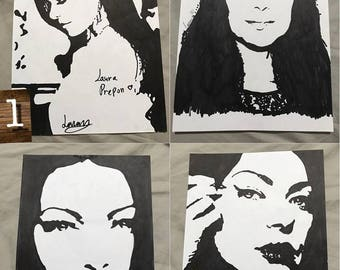 Alex Vause Laura Prepon OITNB orange is the new black drawings lots A4 painting
