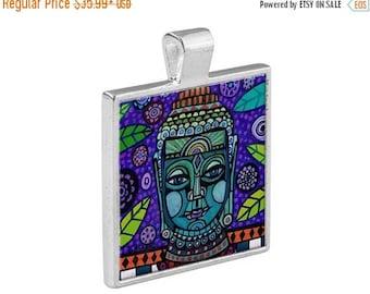 SALE ENDING- Buddha Necklace Folk Art Jewelry - Pendant Metal  Gift Art Heather Galler Gift-  Spiritual Art Gift Charm Buddhism Vegan Gift