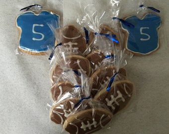 1/ Dozen Boys football and jersey sugar cookies