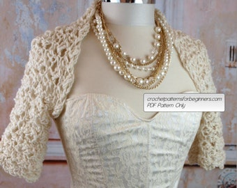 Spring Wedding Crochet Pattern Easy Crochet Shrug Pattern Bridal Shrug Crochet Pattern Summer Crochet Pattern Bridesmaids Crochet Pattern