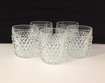 Marvelous 1950u0027s Vintage Retro 5 Clear Glass Diamond Point Low Ball Tumblers Rock  Glasses Barware Cups Set