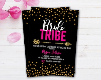 Bride Tribe | Bachelorette Party Invite | Gold Glitter | Girls Night Out | Last Fling Before the Ring | Black and Gold Invites | Elegant