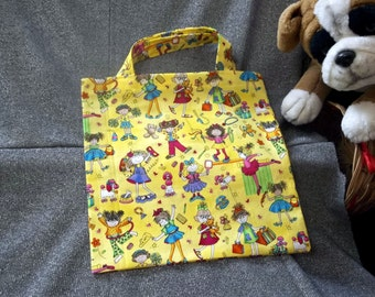 Book Lunch N Small Gift Tote Bag, Girls N Girls on Yellow Print