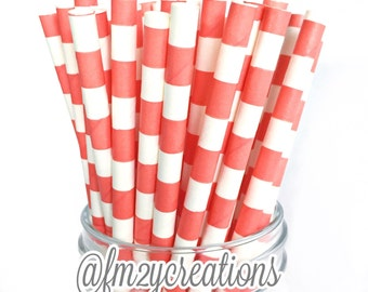CORAL Paper Straws, 25 Coral Circle Paper Straws, Cake Pops, Coral Weddings, Birthday Party, Coral baby shower, Diy Flags