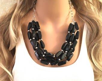 Black Chunky Statement Necklace, Multi-Strand Beaded Jewelry, Black Necklace, Black Bib Necklace, Black Beaded Necklace, Black & Silver