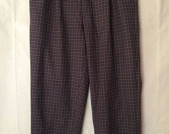 1970s Checked Disco Pants - Medium - Golf - Party - Hipster - Monogrammed - Red - White - Black - Plaid - 35x27
