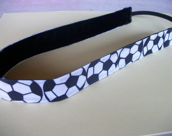 Soccer Non-Slip Headband,.  Black and White Soccer Ball  Print  and Velvet Head band, Adjustable Non Slip Sports Headband. Sports Team Band