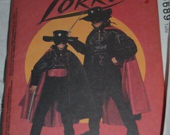 McCalls 6689 Childs Zorro Costume - UNCUT - Childs Size 5 -6