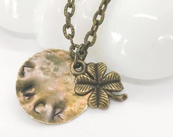 Four-Leaf clover necklace - Stamped disk Luck charm - good luck necklace - Shamrock necklace