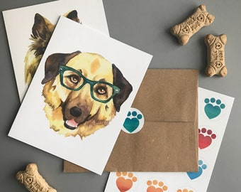 Dogs in Glasses Note Card Set
