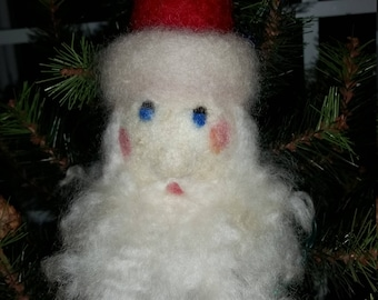 Wool needle felted Santa Claus Christmas decoration and ornament