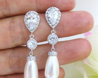 Bridal Pearl Earrings Wedding Jewelry Swarovski Teardrop Pearl Cubic Zirconia Earrings Bridesmaid Gift Long Pearl Earrings (E089)