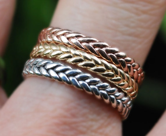 3mm width 14k gold braid ring