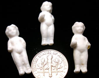 "Teeny tiny Frozen Charlotte. Set of 3 from Germany, small size. 1 1/8"". Set B."
