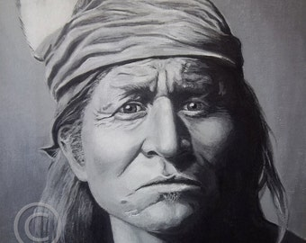 Acrylic Painting Fine Art Giclee Print, Matted, APACHE WARRIOR