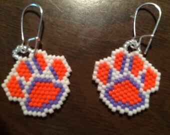 DELICA Clemson Tigers Beaded Earrings