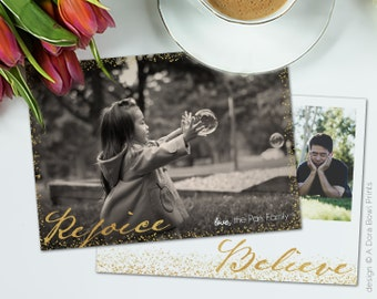 """Christian Christmas Photo Card Template, faux gold foil sparkles Holiday Family Card 5x7 Photography Photoshop template, """"Rejoice + Believe"""""""