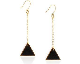 triangle earrings - geometric earrings - black and gold jewelry - leather earrings - modern earrings - dangle geometric earrings - elegant