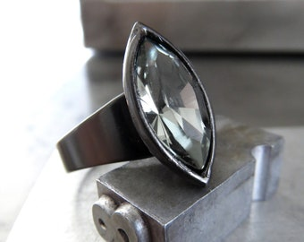 WICKED - Black Night Swarovski Crystal Ring with Marquise Navette Crystal Rhinestone, Black Gunmetal Adjustable Band, Goth Gothic Jewelry