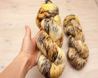 Hand dyed yarn - Superwash merino, nylon, sock yarn, hand dyed sock yarn, speckles, yellow, grey, brown