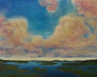 "Clouds Sky Marsh Landscape Original Painting signed Acrylic   14""x18"""