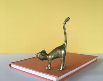 Vintage Brass Cat Ring Holder, Jewelry Holder, Cat Figurine, Brass Cat, Cat Decor, Brass Decor,