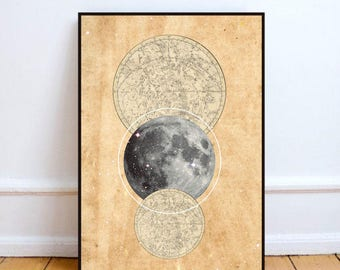 """Constellation print, instant download, abstract moon print, moon print, scandinavian, constellation art, printable art - """"Moon and stars""""."""