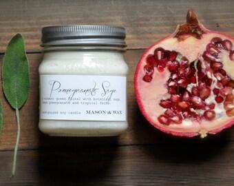 Pomegranate Sage Mason Jar Soy Candle