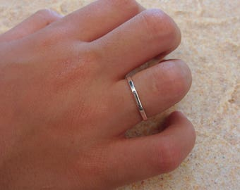 Minimalist octagonal sterling silver - stacking ring
