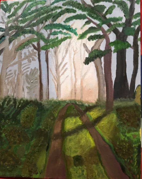 """Into the Woods.  Oil painting.  11 x 14""""  1 1/2"""" gallery wrapped."""