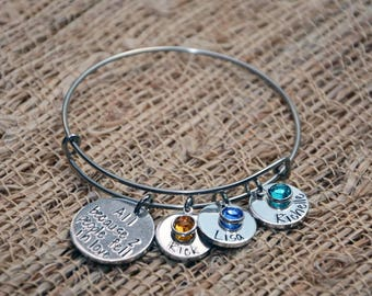 All because 2 people fell in love bangle, mothers bracelet, mother's day, mom's birthday, birthstone bangle, gift for mom, gift for grandma