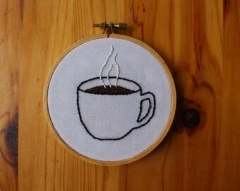Coffee Mug Hand Embroidery Hoop