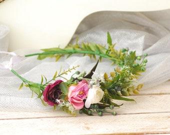 Green White Marsala Flower Wedding hair wreath Floral hair wreath  Bridal floral crown Bohemian flower crown Hair flowers Boho floral crown