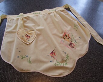Embroidered Apron  Fish Apron Yellow Apron Vintage