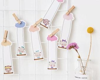 30pcs Kawaii Swing Animal Bookmarks, Bookmarks, Kawaii Stationery, Cut out Bookmark, Stationery,Swing Bookmark,Frog,Bear,Fox