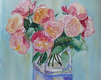 Roses Original Watercolour art painting 12x12  Botanical illustration floral watercolour flowers home decor gift for her