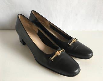 Vintage Shoes Women's 80's Ferragamo, Black, Leather, Pumps (Size 10)