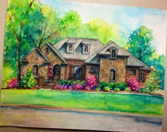 CUSTOM House Painting | Watercolor | Large Sizes