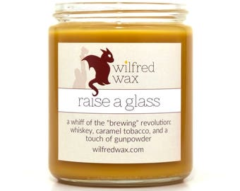 Raise a Glass: Hamilton-Inspired Scented Soy Candle (Whiskey, Caramel Tobacco, Gunpowder) by Wilfred Wax